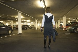 Lady in a dark car park